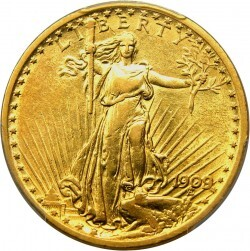 1909 St Gaudens 20 Gold Coin Value