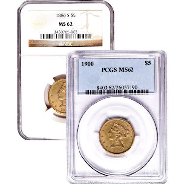 Pre-33 $5 Liberty Gold Half Eagle Coin (MS62, PCGS or NGC)