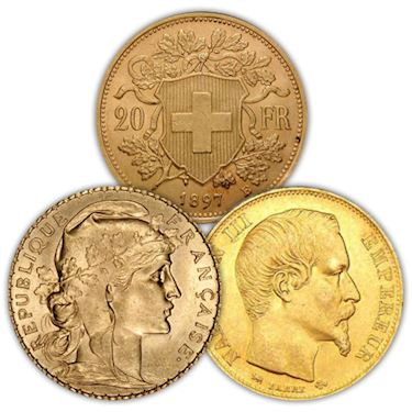 20 Francs Gold Coin Random Year Country Vg