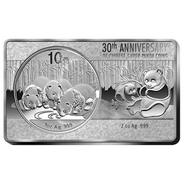 2017 3 Oz 30th Anniversary Chinese Silver Panda Bar New