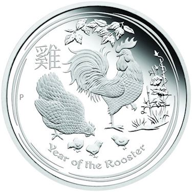 2017 1 Oz Proof Australian Lunar Rooster Silver Coin Box Coa