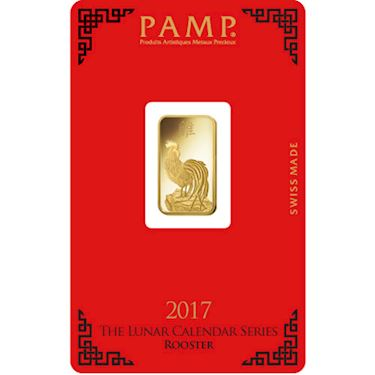 5 Gram Pamp Suisse Lunar Rooster Gold Bar New W Ay