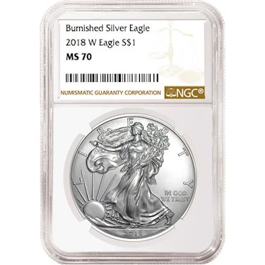 2018 W 1 Dollar Oz Burnished Silver Eagle Ngc Ms70