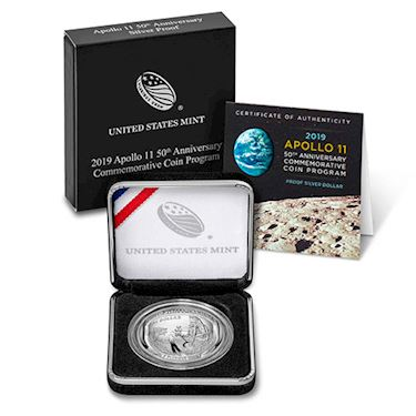 2019 Proof American Apollo 11 50th Anniversary Silver Coins